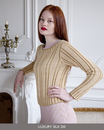 f511be9f8 Pattern #3, Gold Sweater. I like this sweater, though I think it was a  mistake to style it as evening or dressy wear, as they've done here.
