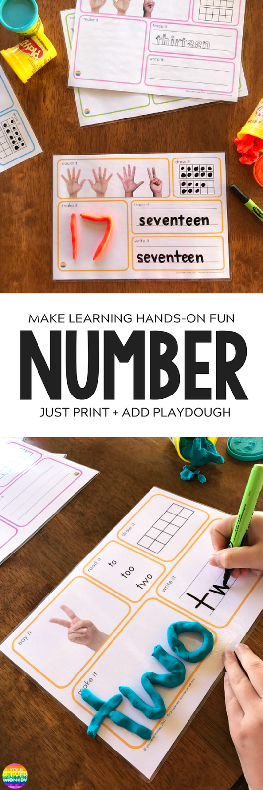 Printable Number Playdough Mats | you clever monkey