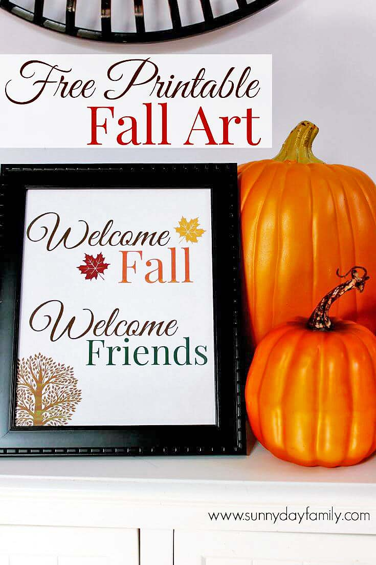Free Printable Fall Art! Welcome the season and your friends with this lovely print suitable for framing.