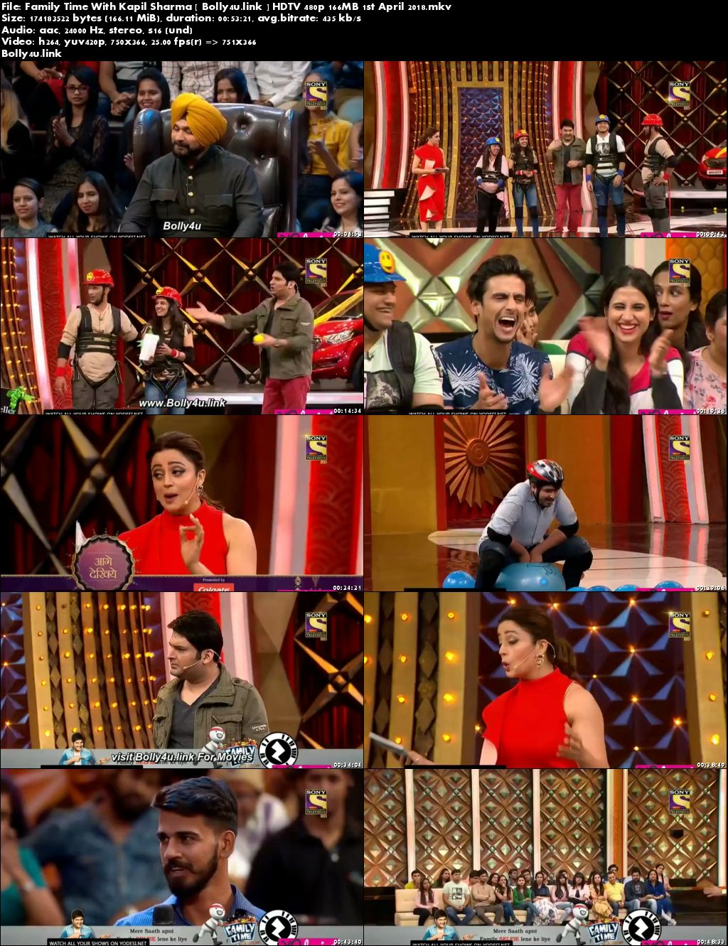 Family Time With Kapil Sharma HDTV 480p 160MB 01 April 2018 Download