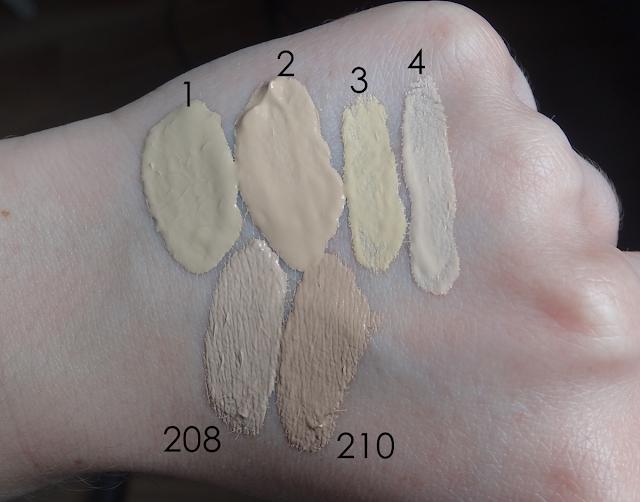Dermacol 208 210 swatche porównanie ColorStay Skin Balance