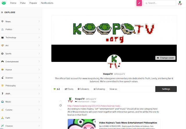 KoopaTV GAB GAB.ai social network free speech profile page