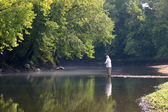 Fly fishing the Caney Fork River