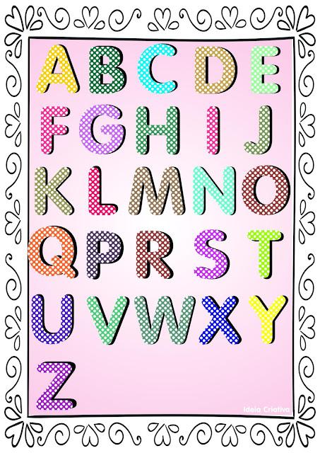 Alfabeto Poá Colorido com Borda Para baixar grátis em PDF
