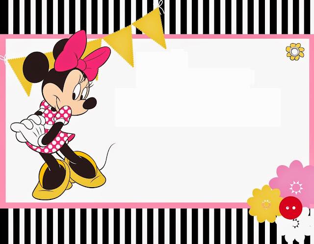 Para hacer Invitaciones, Tarjetas, Marco de Fotos para Imprimir Gratis de Minnie Mouse Rosa.