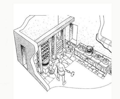 Reconstrucción de un taller de perfumes en Paestum. Lacasamundo.com