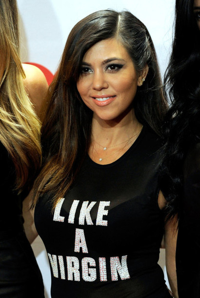 Kourtney Kardashian 'LIKE A VIRGIN' t-shirt   PYGOD.COM