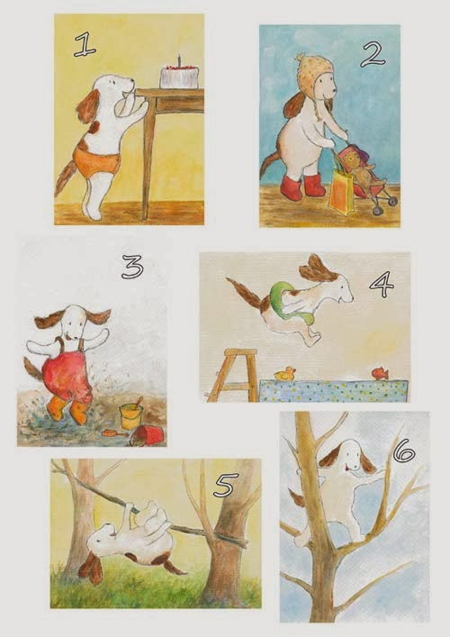 Postcard illustrations of spaniel for 1-6 years old children