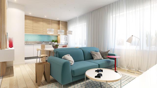 apartamento decorado 90 m² com decor clean, madeira e turquesa. Blog Achados de Decoração
