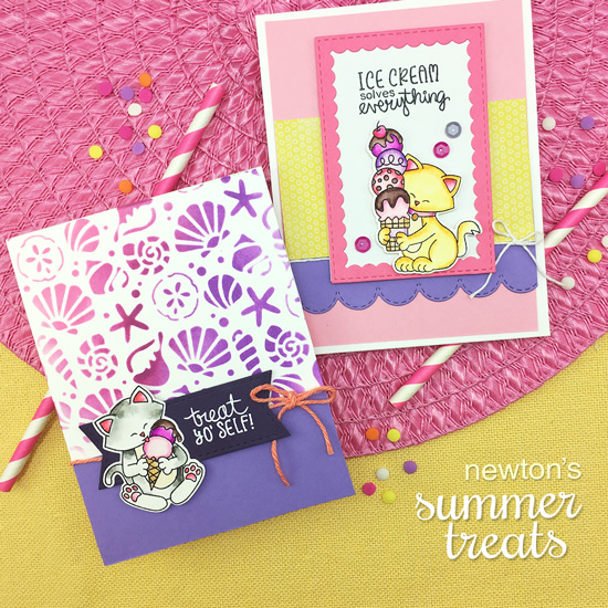 Ice cream and kitty cards by Jennifer Jackson | Newton's Summer Treats Stamp Set and Seashells Stencil by Newton's Nook Designs #newtonsnook #handmade