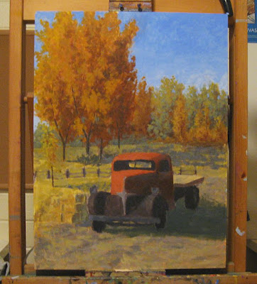 art painting wip truck dodge autumn fall foliage