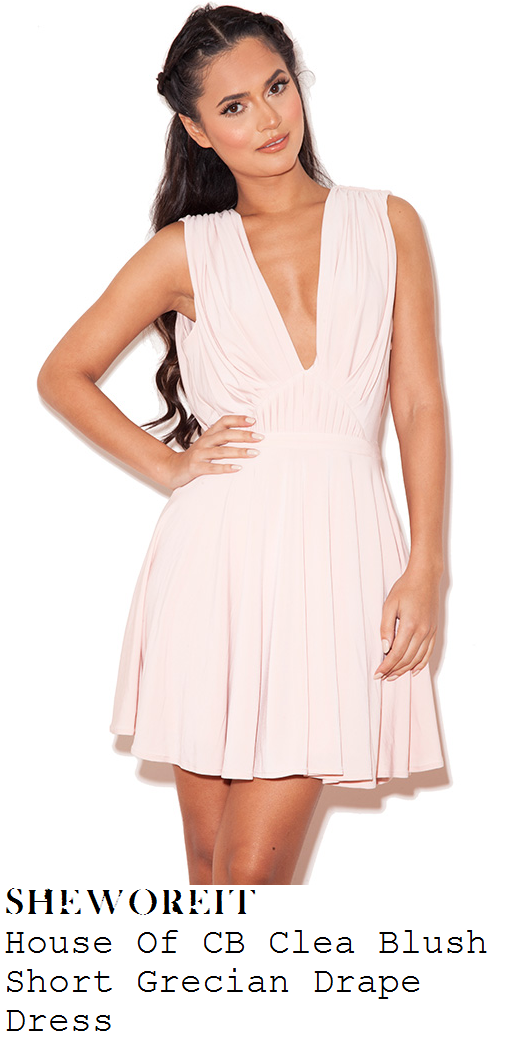 d9eac59ad5e02 Jessica Wright's House Of CB Clea Pale Blush Pink Sleeveless Plunge Front  Pleat Detail Silk Jersey Mini Dress With Draped Open Back