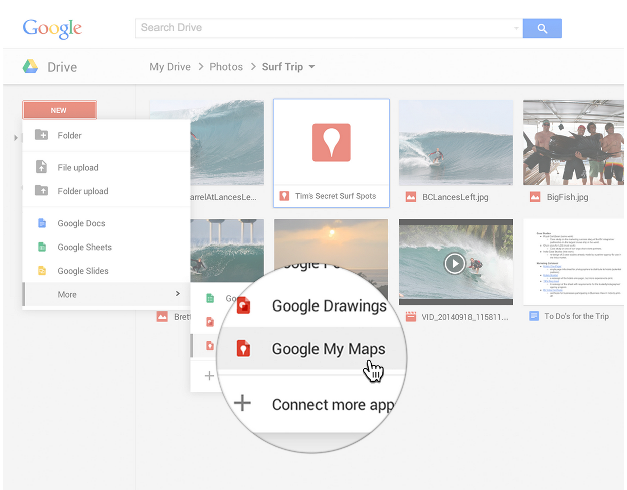 Google My Maps accesible desde Google Drive