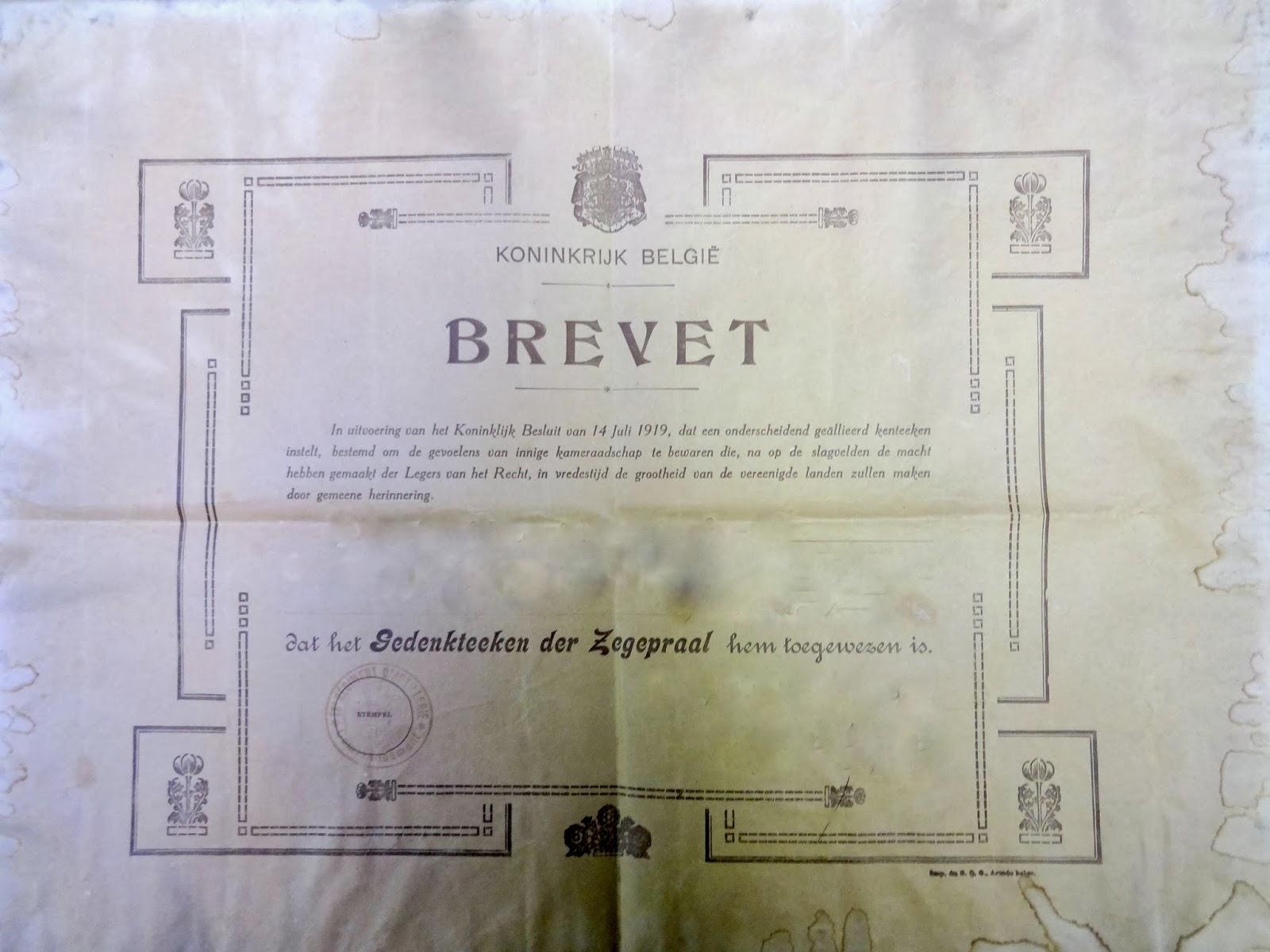 Brevet der Zegepraal 1914-1918. Legerarchief Evere