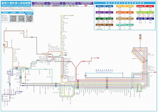 臺灣大道幹線公車路網圖