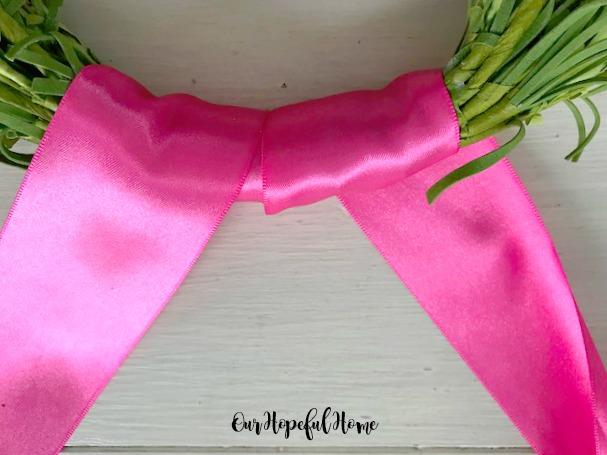 hoop wreath spring floral ribbon DIY tutorial