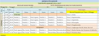 Jadwal Pelajaran Kelas 4 SD/MI Kurikulum 2013