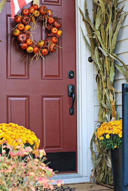 DIY fall pumpkin wreath with grapevine