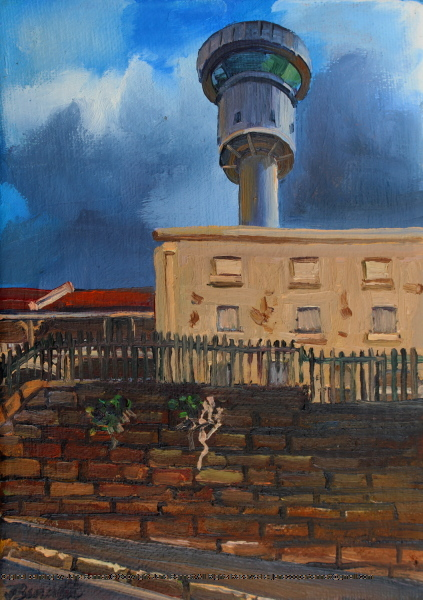plein air oil painting of heritage terraces Millers Point & Harbour Control Tower by industrial heritage artist Jane Bennett