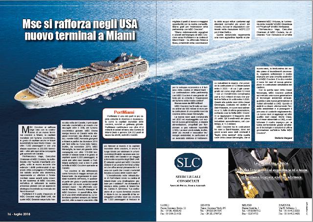 LUGLIO 2018 PAG 16 - Msc si rafforza negli USA nuovo terminal a Miami