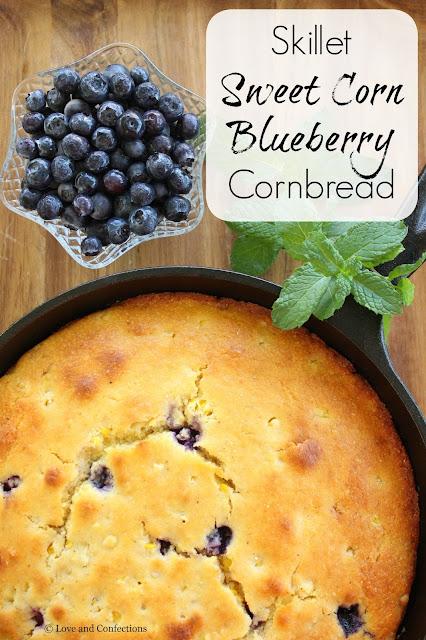 Skillet Sweet Corn Blueberry Cornbread from LoveandConfections.com #FreshFromFlorida #IC (ad)