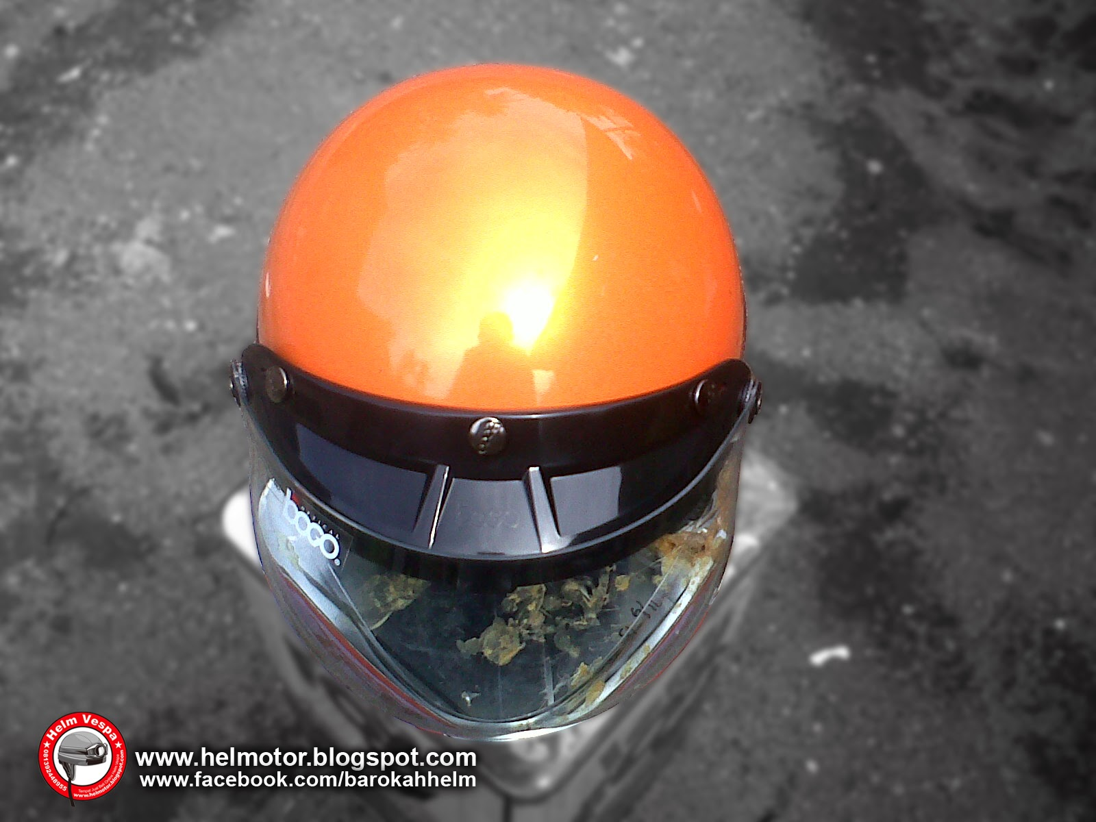 Helm Vespa Bogo Orange Shinny  Helm Vespa