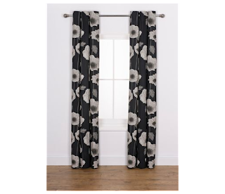 Less Than Half Price £5.99 Elissia Poppy Unlined Curtains – 117 x 137cm, Black cotton