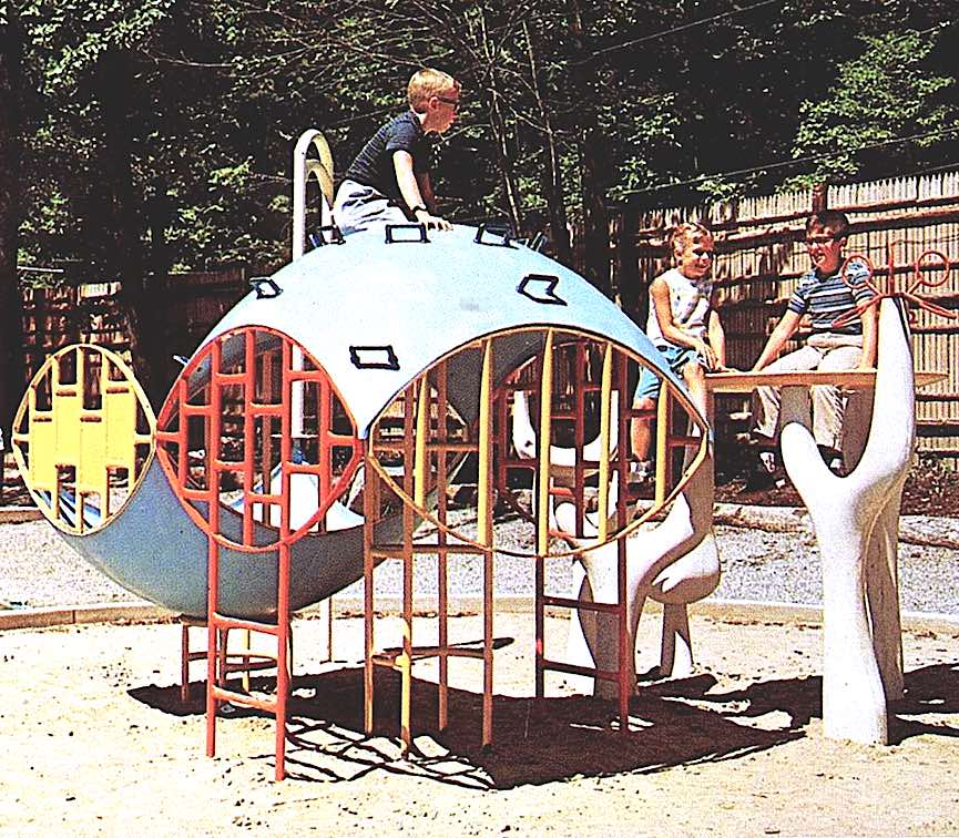 a color photograph of a 1960s playground with kids