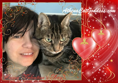 Valentine graphic with cat and her human