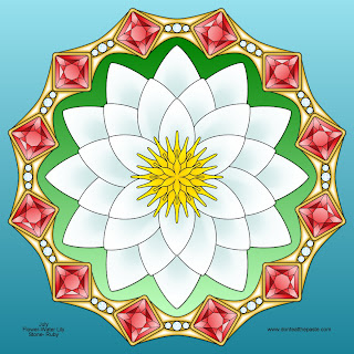 Waterlily and Ruby mandala for July