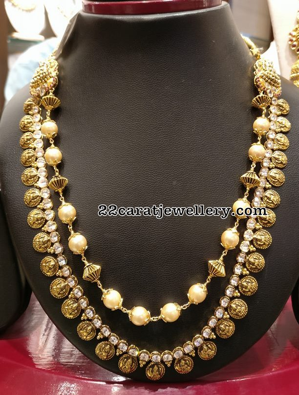 Kasu Mala with Polki Layer and Pearls Layer
