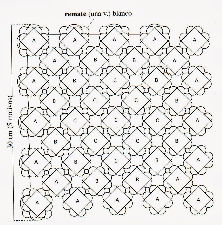 tejidos artesanales en crochet: carpeta cuadrada tricolor tejida en ...
