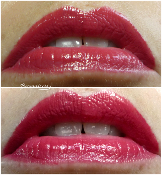 Lip swatches of Chanel Rouge Coco Stylo Lipshine in 214 Message