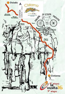 Tarjeta de la 9ª etapa de la Vuelta ciclista a España Cistierna-Oviedo