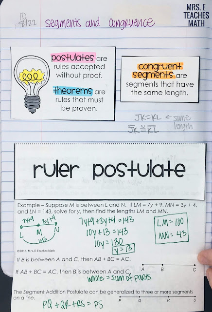 Segment Addition Postulate Foldable for Geometry Interactive Notebooks