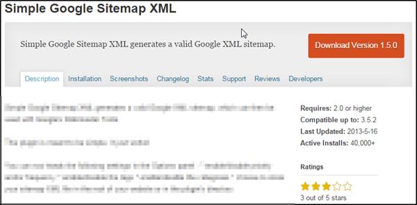 Simple Google Sitemap XML