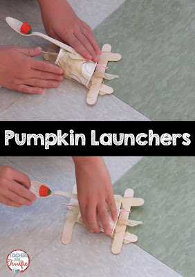 STEM Challenge: Build a Pumpkin Launcher! A lot of groups made a catapult device to toss the candy and these were great. There were some groups that tried a sling shot type mechanism. Check this blog post for more!
