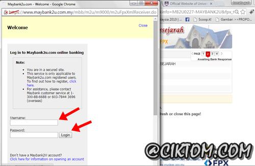 Popup untuk login online banking