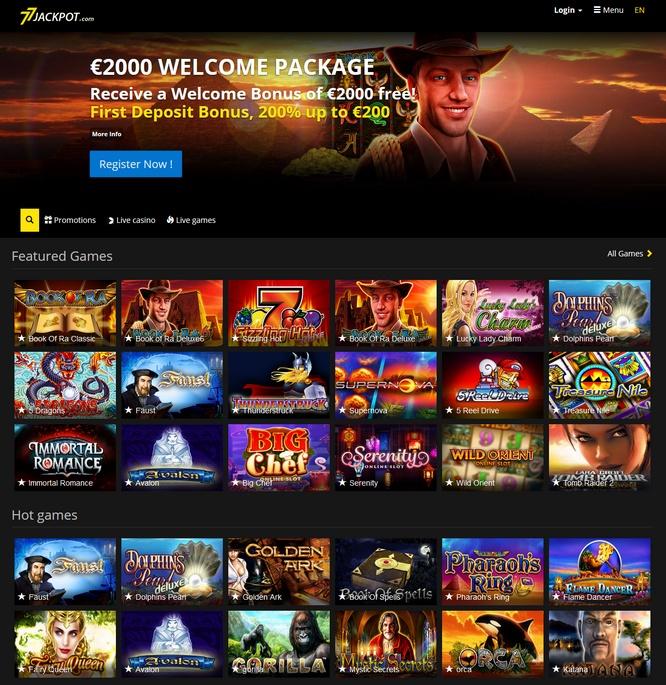 77 Jackpot Screen