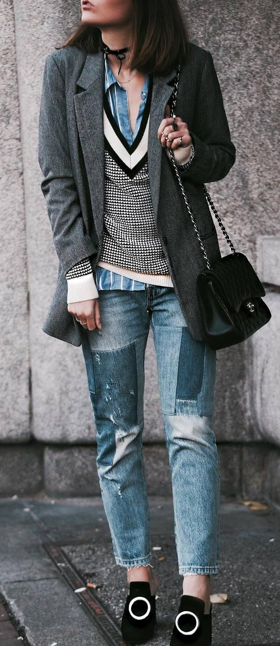 fashion look | blazer + sweater + denim shirt + bag + jeans