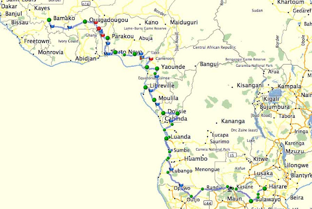 Zim2Mali Planned Route