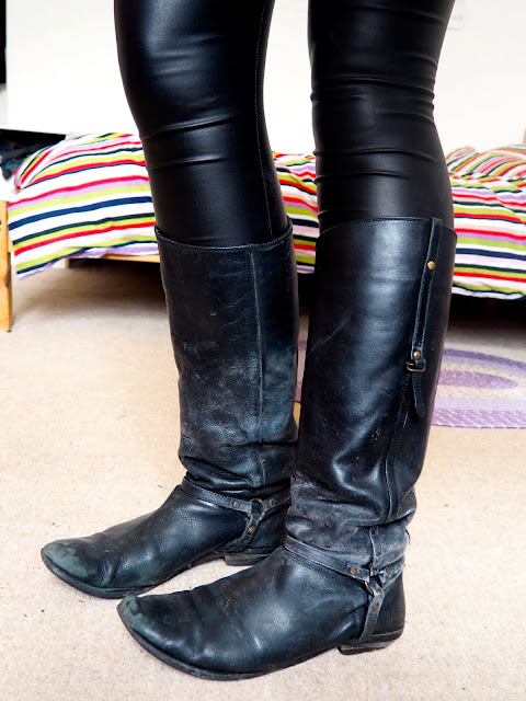 Black Widow Disneybound cosplay outfit shoe details of well worn out tall black leather boots with buckles and straps