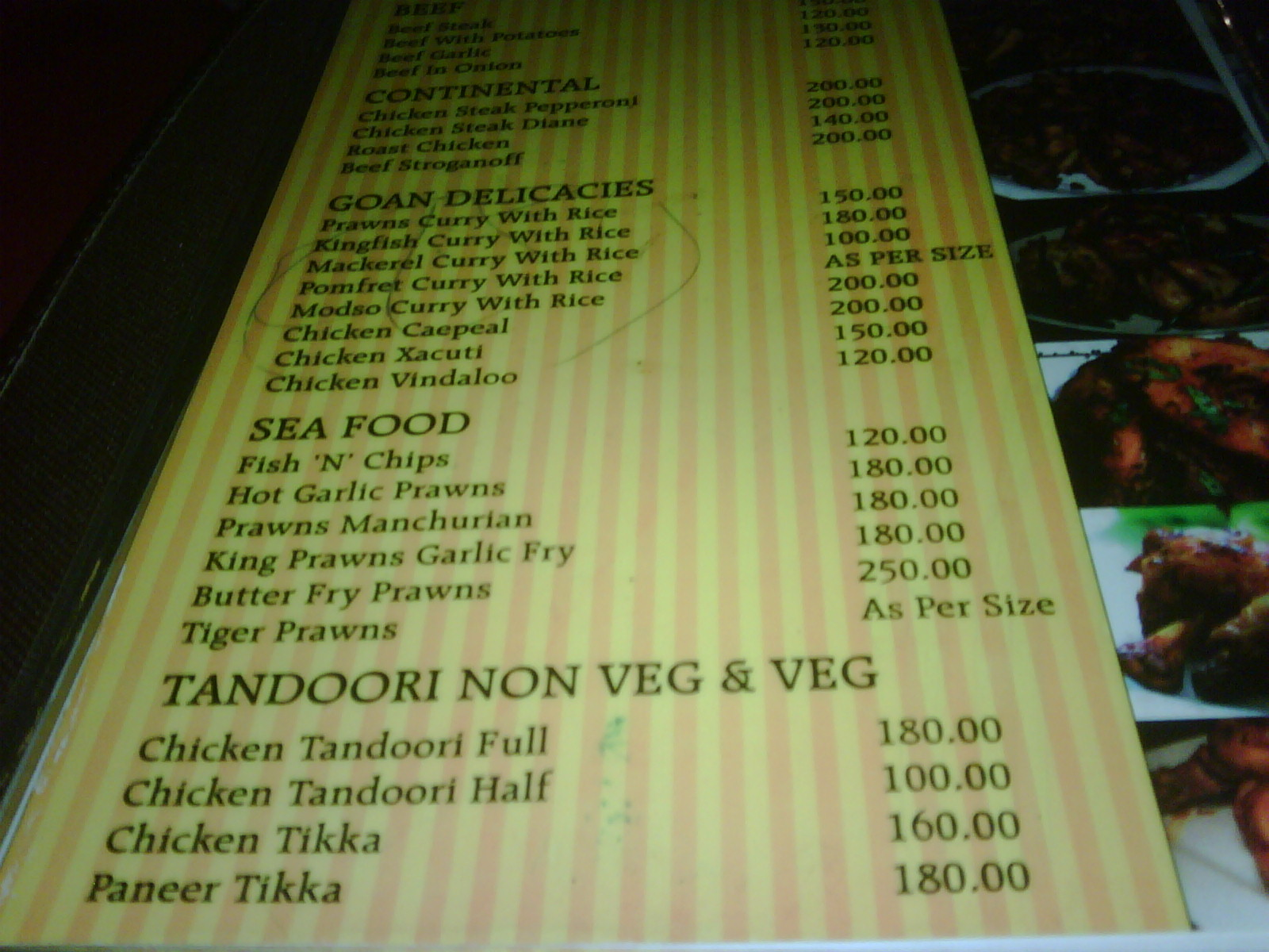 Travel And Food Tales Goa Food Menus South Goa Part 1