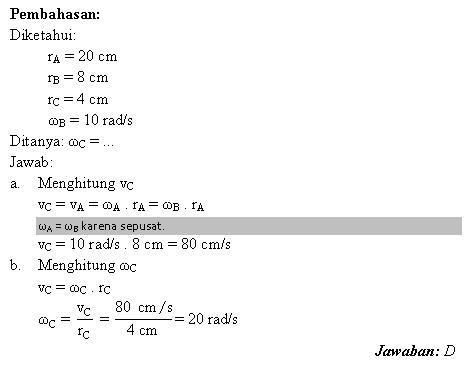 Menghitung kecepatan sudut roda yang saling berhubungan