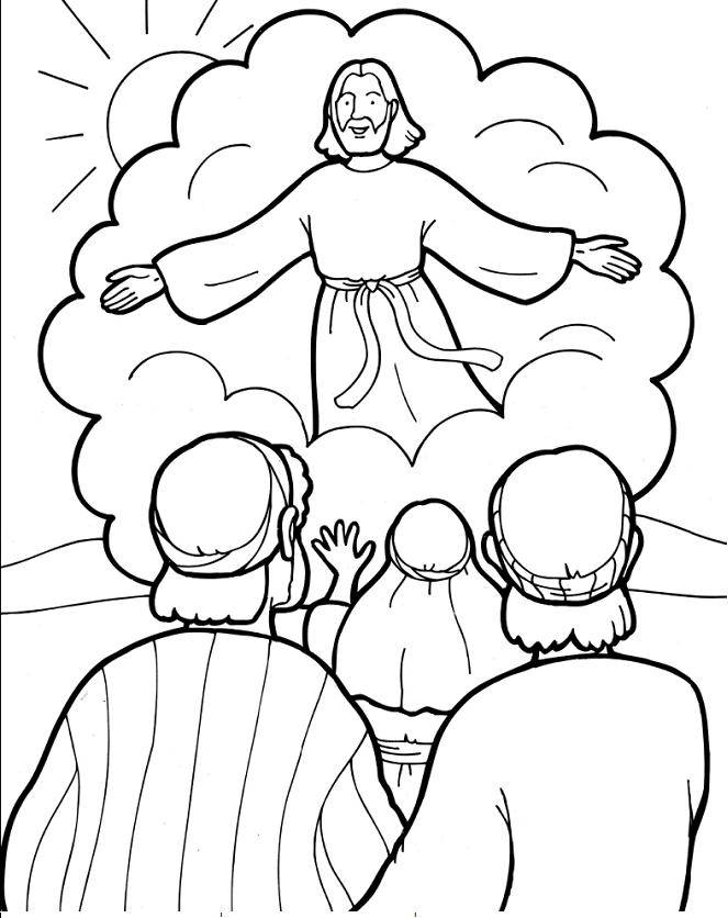 Sekolah Minggu Lembar Mewarnai Tuhan Yesus Naik Ke Surga