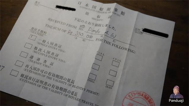 Kwitansi Pembayaran Visa Jepang