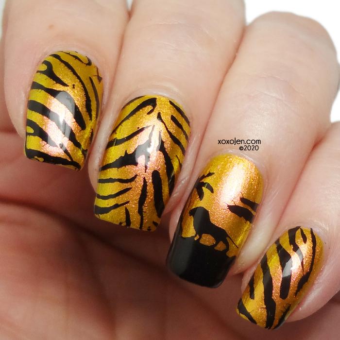 xoxoJen's swatch of Tiger King Nail Art