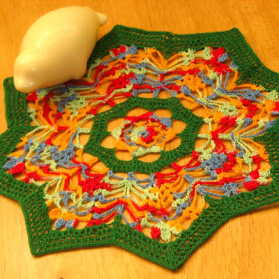 Colorful Thread Crochet Art Green Star with Flowers Inside - By RSS Designs In Fiber