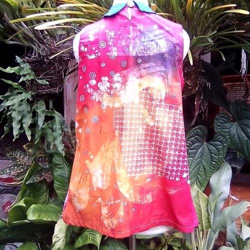 Blus Tanpa Lengan Batik Kombinasi
