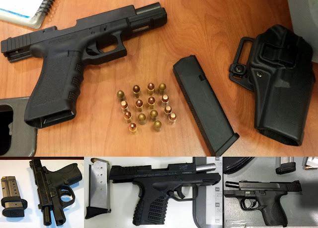 Loaded firearms.